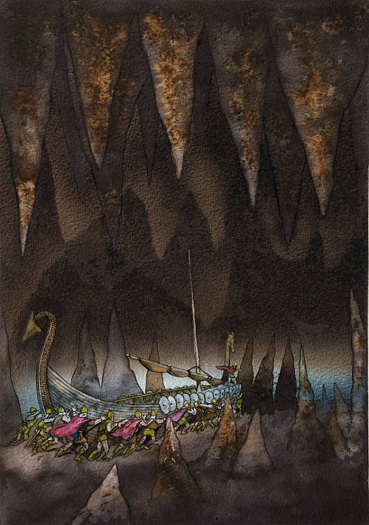 Erik and His Men Dragged Their Ship, Golden Dragon, Through the Cavern Beneath the Edge of the World