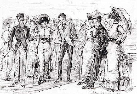 A Group of 'Arries:  In the Centre of Which May Be Seen the Plain but Captivating Mr Belleville, Who Explains to the Lovely Miss Eliza Larkins That It's of No Consequence Whether a Man Be Handsome or Not, 'as Long as He Looks Like a Gentleman.'