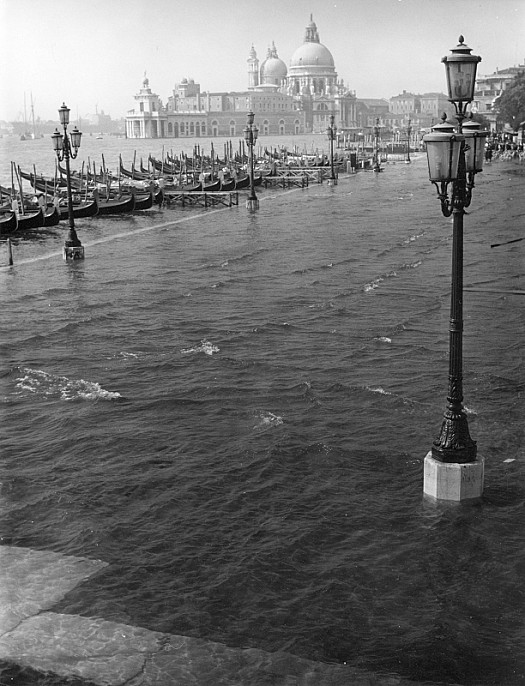 Santa Maria Della Salute and the Dogana Di Mare Seen from the Flooded Molo During 'Acqua Alta', Venice, 1961