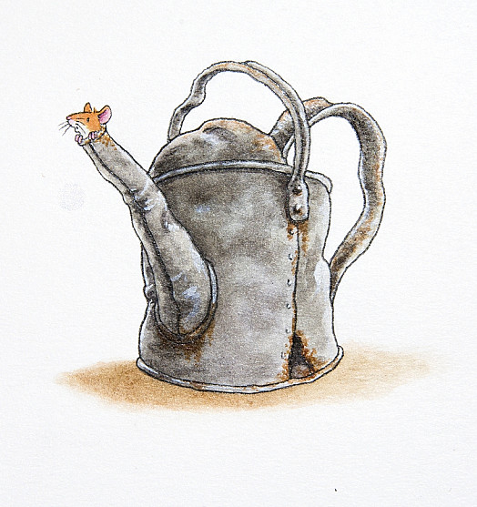 One Mouse Used to Like to Play In an Old Watering Can. He Liked the Way It Made His Voice Sound Big! He Stopped Playing In It After He Got Stuck In the Spout