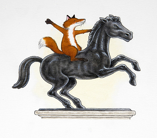 There's a Statue of a Horse Nearby. When He Thinks Nobody Is Looking, the Fox Will Jump On the Horse's Back and Pretend to Go For a Ride