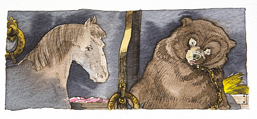 He Saw the Mare and the Bear as Before, Standing by the Manger In a Sullen and Morose State