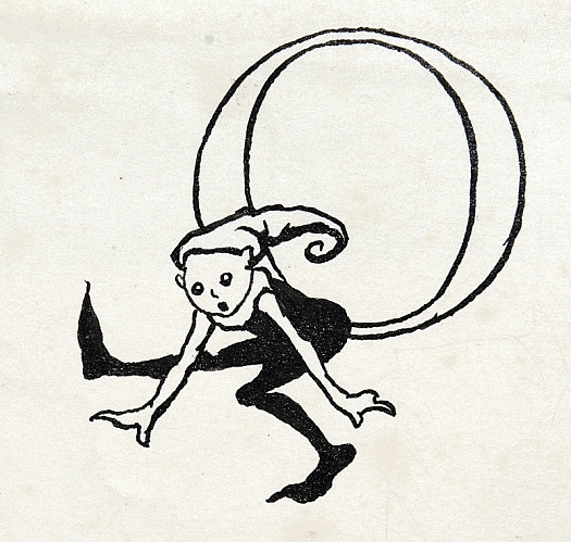 Initial Letter O, with Leaping Imp