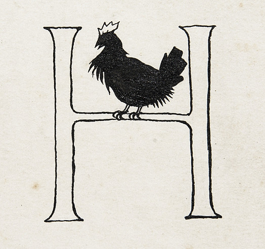 Initial Letter H, with Roosting Hen