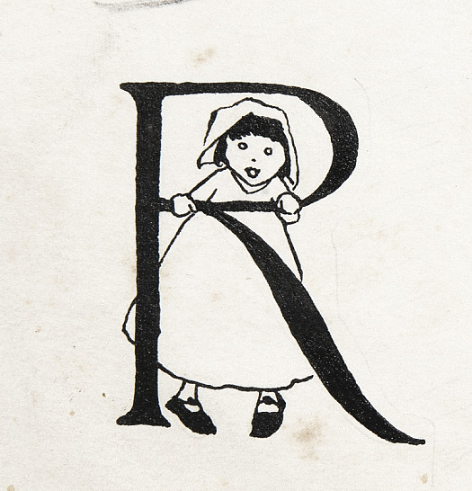 Initial Letter R, with Little Red Riding Hood