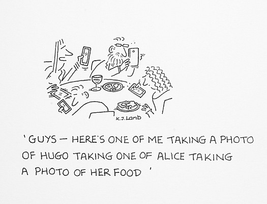 Guys - Here's One of Me Taking a Photo of Hugo Taking One of Alice Takinga Photo of Her Food