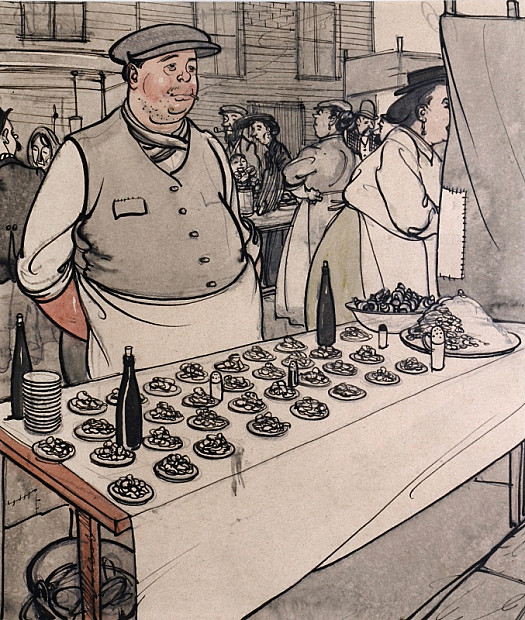 A Shellfish Stall In a London Street