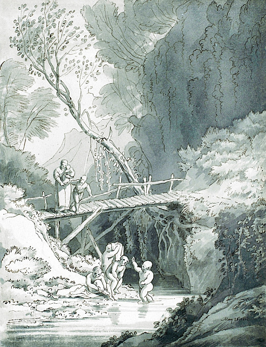 Children Bathing In a Mountain Stream