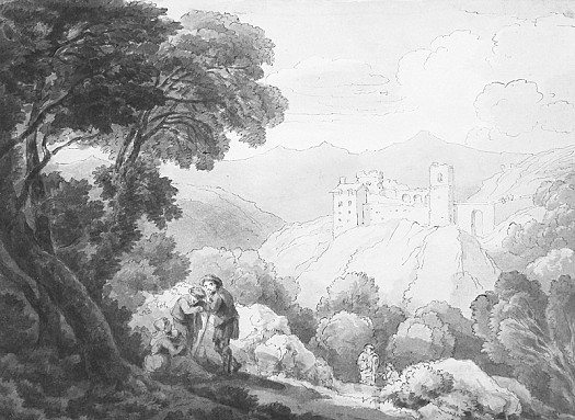 Figures Resting In a Hill Landscape