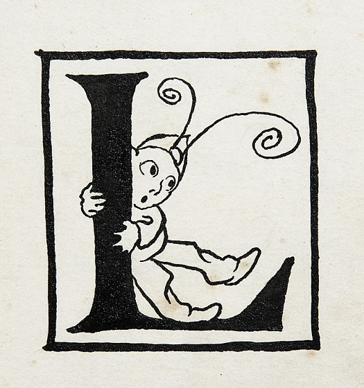 Initial Letter L, with a Leaning Imp