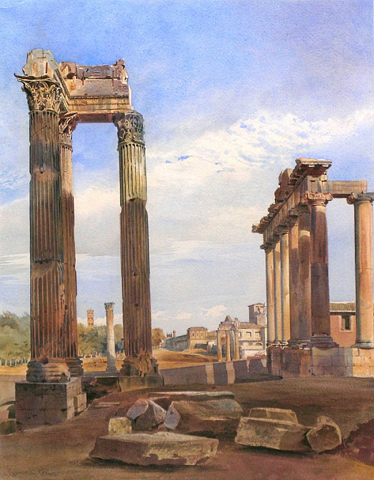 The Temples of Vespasian and Saturn, with the Temple of Castor Beyond, the Forum, Rome