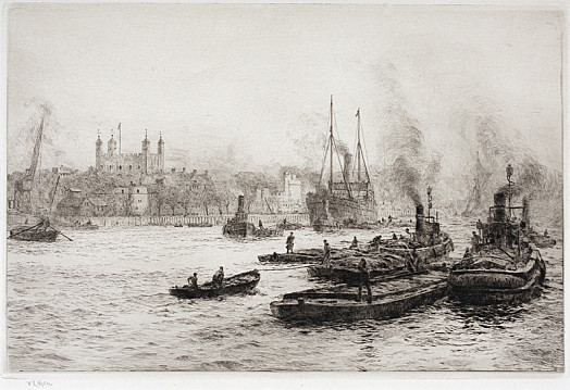 Thames Barges Passing the Tower of London