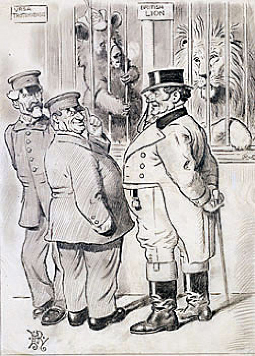 The Lion's Share – At Last!John Bull: Keeper Macdonald, It Seems to Me That the Bear Here Has Been Somewhat Pampered of Late At the Expense of the Lion. I Need Not Tell You Keeper Baldwin, to See That Leo Gets His Fair Share At Feeding Time!