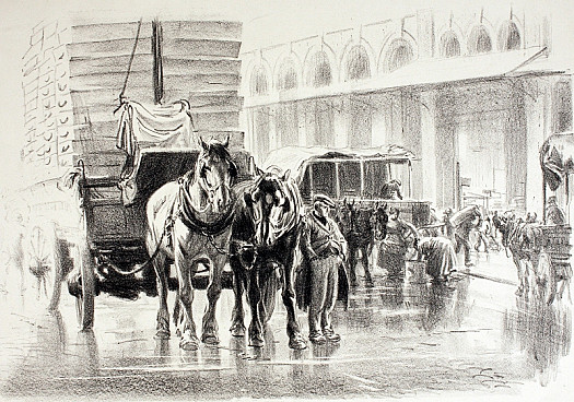 Horse and Loaded Cart In a City Street