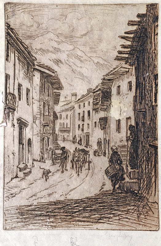 Swiss Village Street with Donkey-Cart and Figures, C1911
