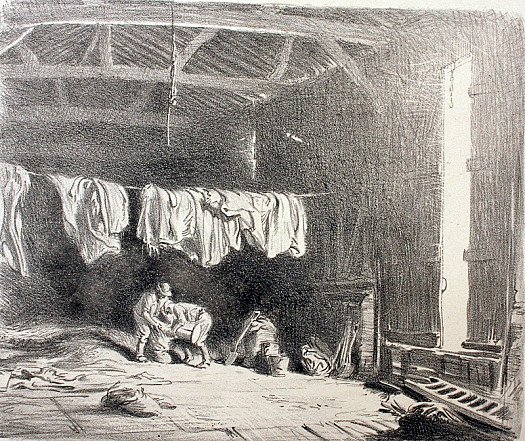 Large Barn: Filling Sacks, C1919