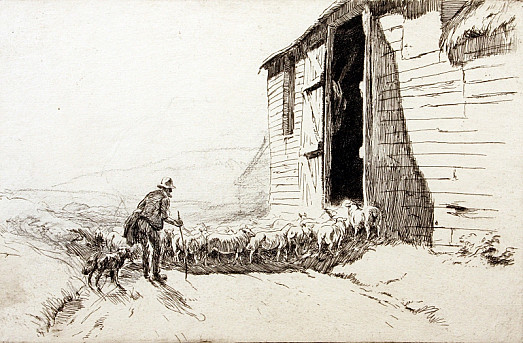 Driving Sheep Into a Barn, C1919