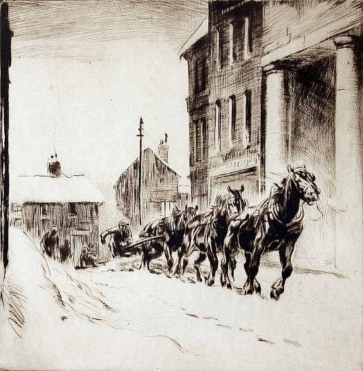 Horse-Drawn Snow Plough, C1920
