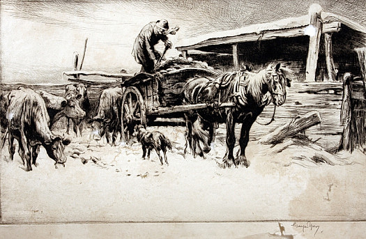 Winter: Feeding Cattle, 1920