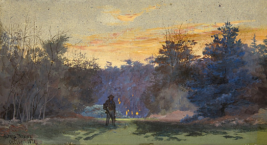 Hunter in Sunset Landscape