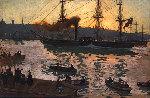 The First Steam Boat on the Mersey – Sunset, Liverpool Beyond