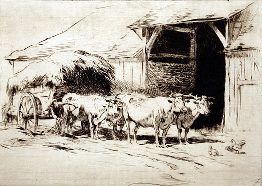 French Farmyard with Hay Cart, C1927