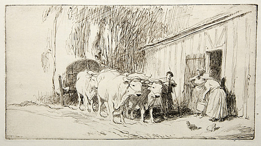 French Farm with Ox Cart, C1927