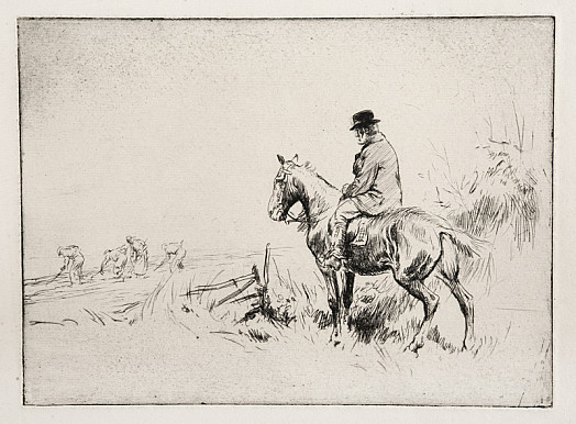 Farmer On Horseback Watching Workers