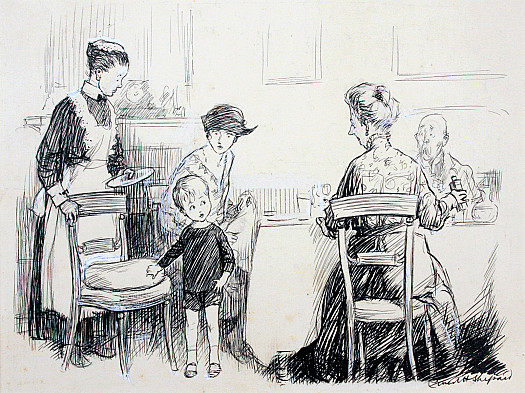 Aunt Julia: 'Well, Robert, and would you like to run upstairs and play?'Bobby (who has been lunching out, and fared daintily but inadequately). 'Please I'd like to go home to my dinner!'