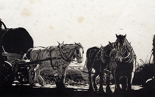 Three Horses with a Log Cart, C1932