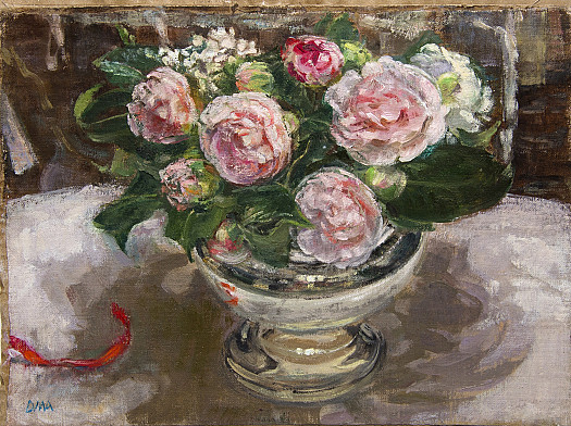 Camellias in a silver rose bowl