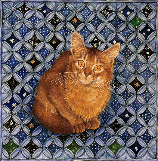 June's Cat Simba On Starry Cathedral Patchwork