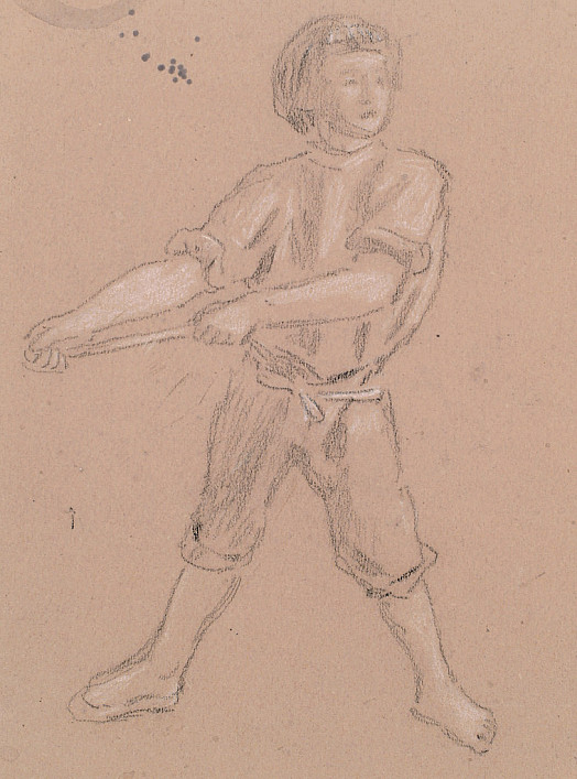 Boy Tugging a Rope