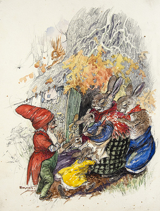 Mumsy Brown picked up her darling bunny babies and carried them into the burrow