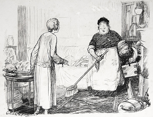 Lady (Concerned for her valuable Persian rug to New Charwoman): 'And, Mrs Scoles, please be careful with this rug, it is very old.'