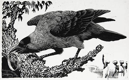 The prince's servants saw the crow dropping the gold anklet into the hole in the tree
