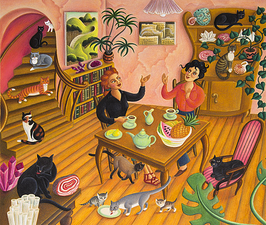 Leonora befriended a Spanish artist named Remedios, who lived in a broken-down apartment filled with cats, stones and magic crystals