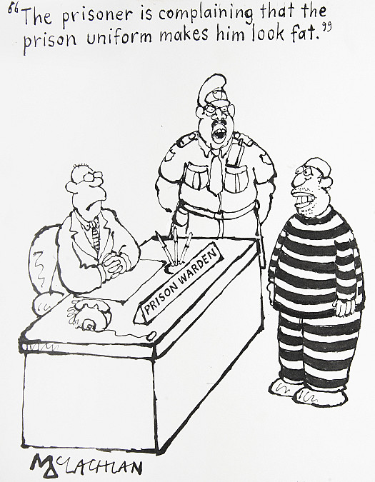 The Prisoner Is Complaining That the Prison Uniform Makes Him Look Fat