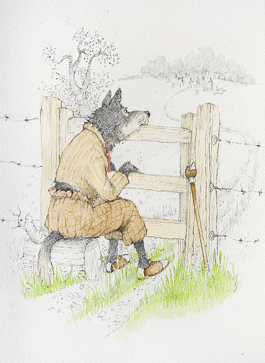 He rested his chin upon the bars of the gate, and he listened to the woodcutters