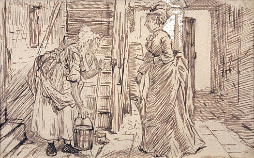 The Trials of a District Visitorthe Honble Mrs Fuzbuz: Is Mrs Higgins Within?Mrs Tomkins: I'll Call'er Mum             (At the Top of Her Voice) Mrs Ig_Gins! Er's the Person with the Trac's                       (to the Hon Ble Mrs) the Lady Will Be Down Presently M'um!!