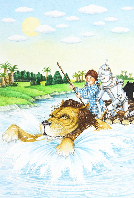 The Lion Began to Swim Towards the Shore with All His Might