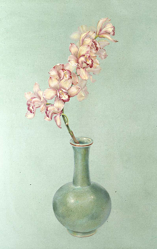 Orchid and Jade Vase