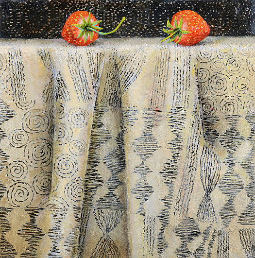 Strawberries On Embroidered Fabric