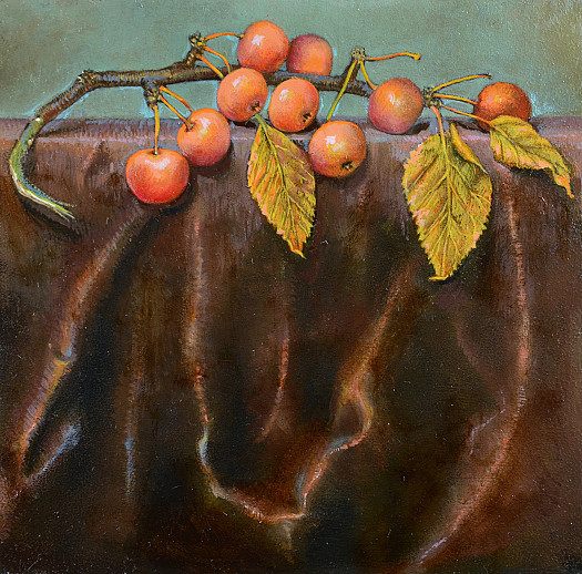 Crab Apples On Brown Silk