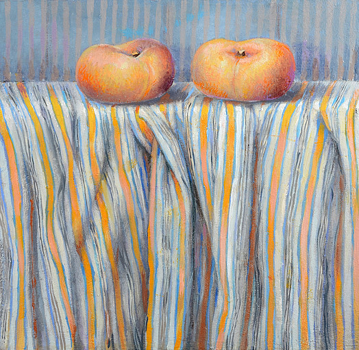 Squashed Peaches On Striped Cotton