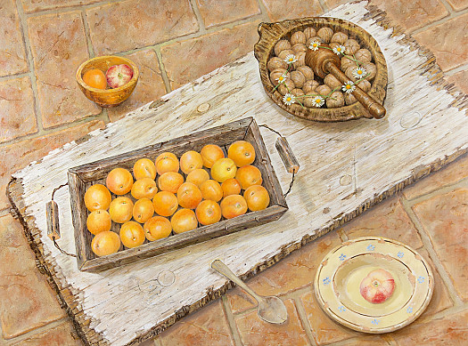 Wooden Board with Apricots and Walnuts