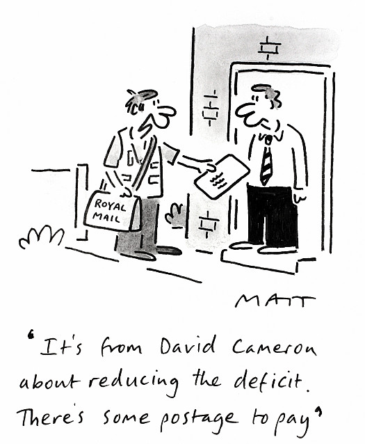 It's from David Cameron About Reducing the Deficit. There's Some Postage to Pay