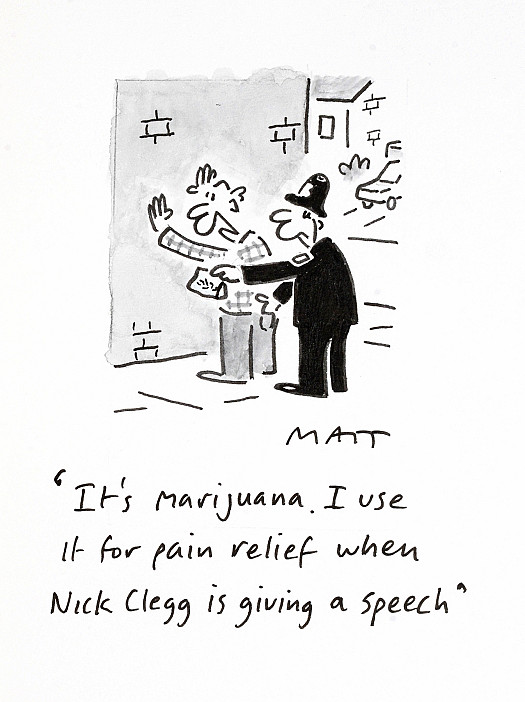 It's Marijuana. I Use It For Pain Relief When Nick Clegg Is Giving a Speech