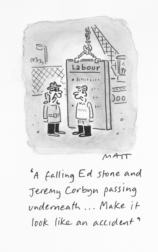 A Falling Ed Stone and Jeremy Corbyn Passing Underneath... Make It Look Like an Accident
