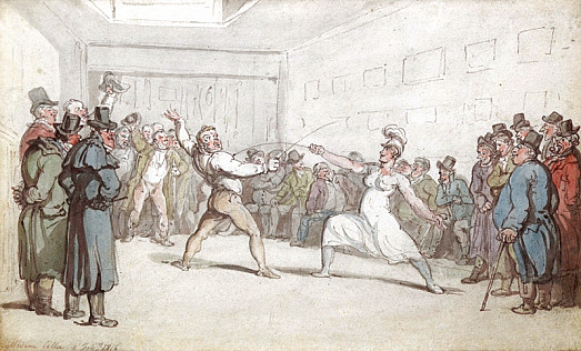 Madame Callee (Culloni) and M Renault In a Fencing Contest